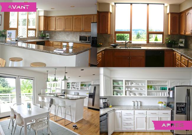 Relooking petit prix de la cuisine en 6 jours - Photo maison renovee avant apres ...