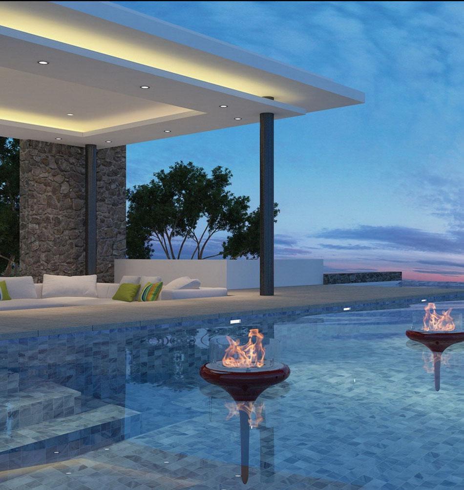 une chemin e ext rieure c t d une piscine design. Black Bedroom Furniture Sets. Home Design Ideas