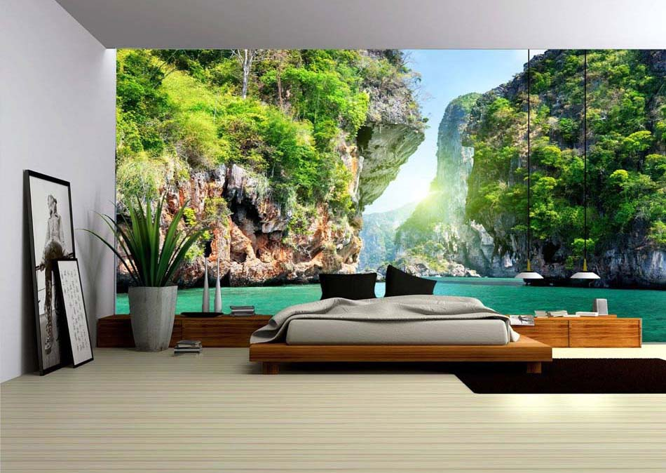 papier peint 3d cr ant un effet abstrait et trompe l il. Black Bedroom Furniture Sets. Home Design Ideas