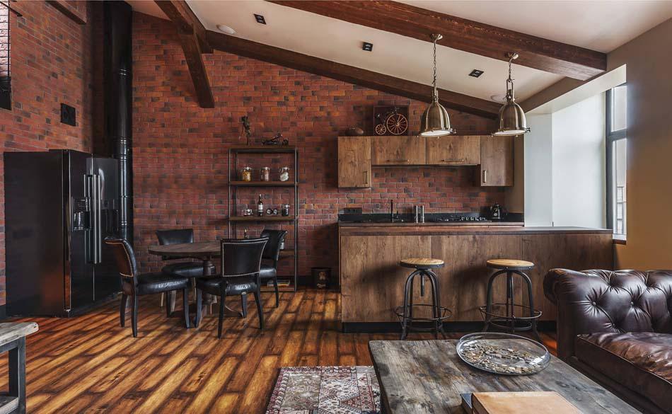 Petite cuisine cr ative aux influences modernes clectiques et vari es desi - Cuisine loft industriel ...