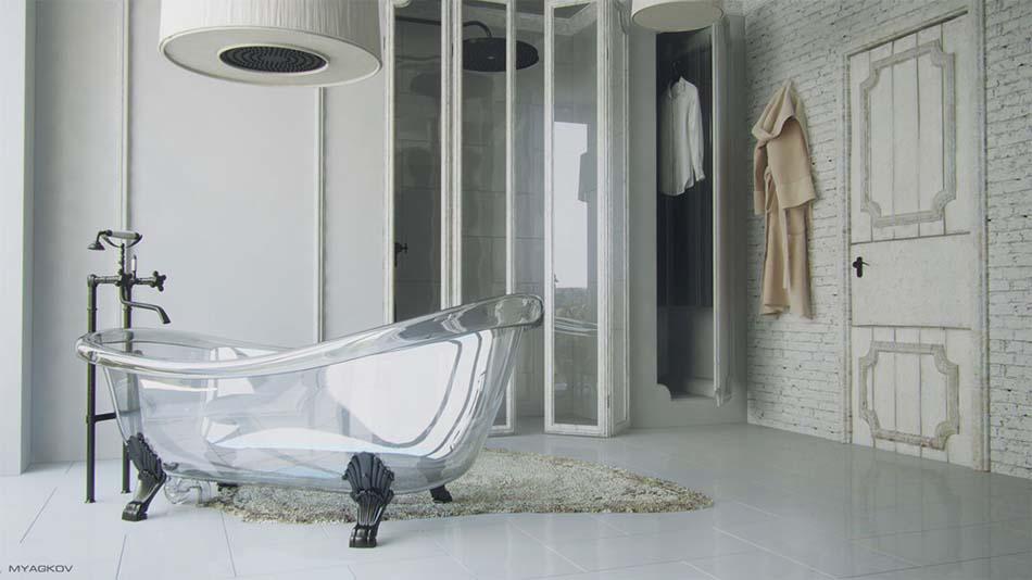 Salle de bain moderne tendance inspir e par le design minimaliste et cr atif design feria - Etabli salle de bain ...