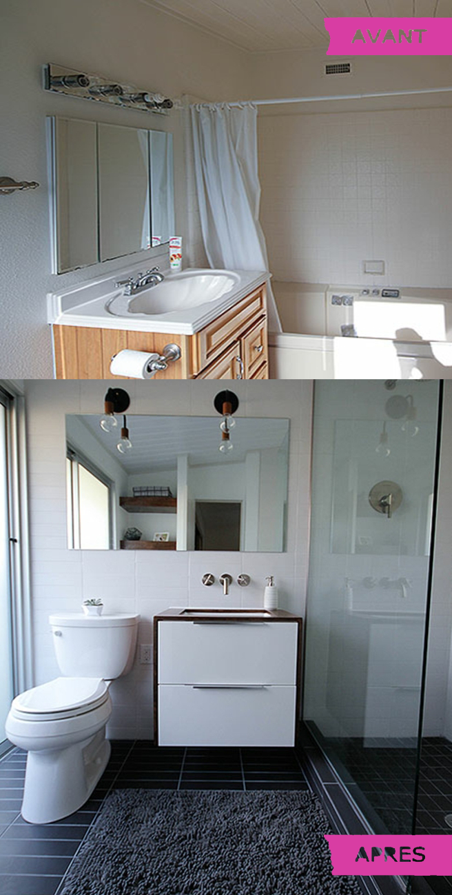 Relooking surprenant et complet d une salle de bain des - Relooking salle de bain avant apres ...