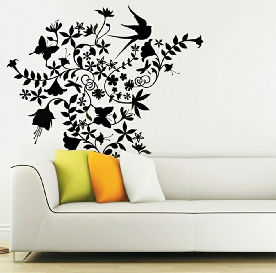 Agreable Stickers Muraux Fleurs Noires