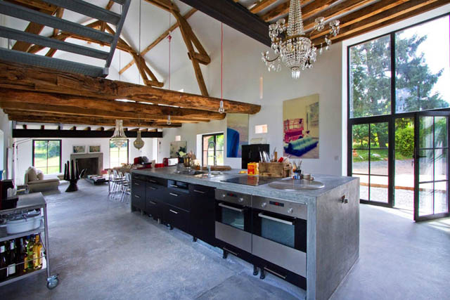 Ilot central en béton ou l\'accent industriel dans notre cuisine ...