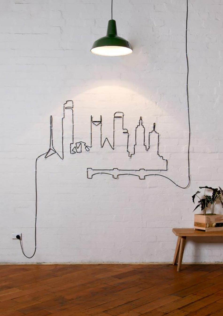 D coration murale l aide de c bles lectriques - Decoration photo murale ...