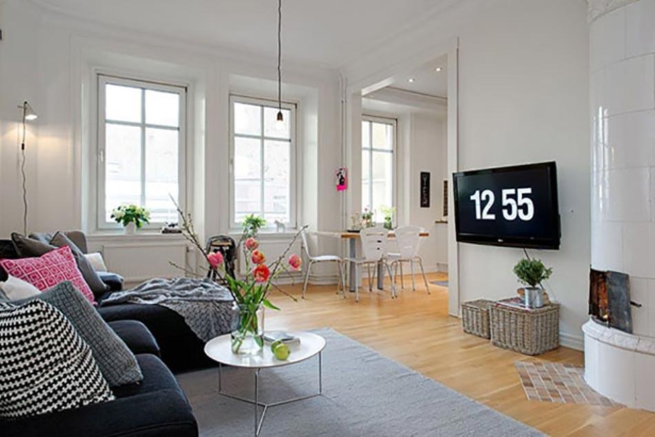 Meuble design dans un s jour scandinave design feria for Petit meuble blanc et gris