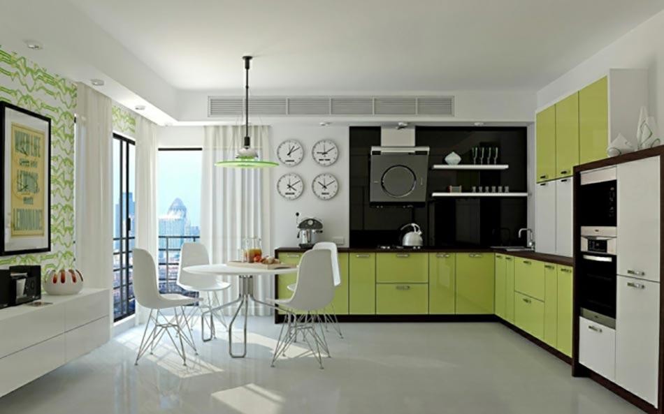 Quand notre cuisine design se met au vert for Cuisine peinte en vert