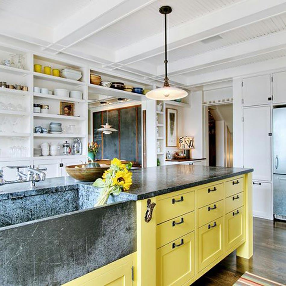 L ilot central le c ur de la cuisine for Cuisine peinte en jaune