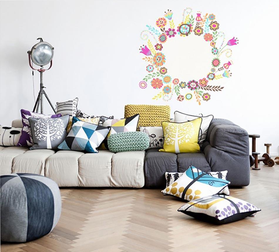 Genial Stickers Muraux Très Pâques En Couronne De Fleurs