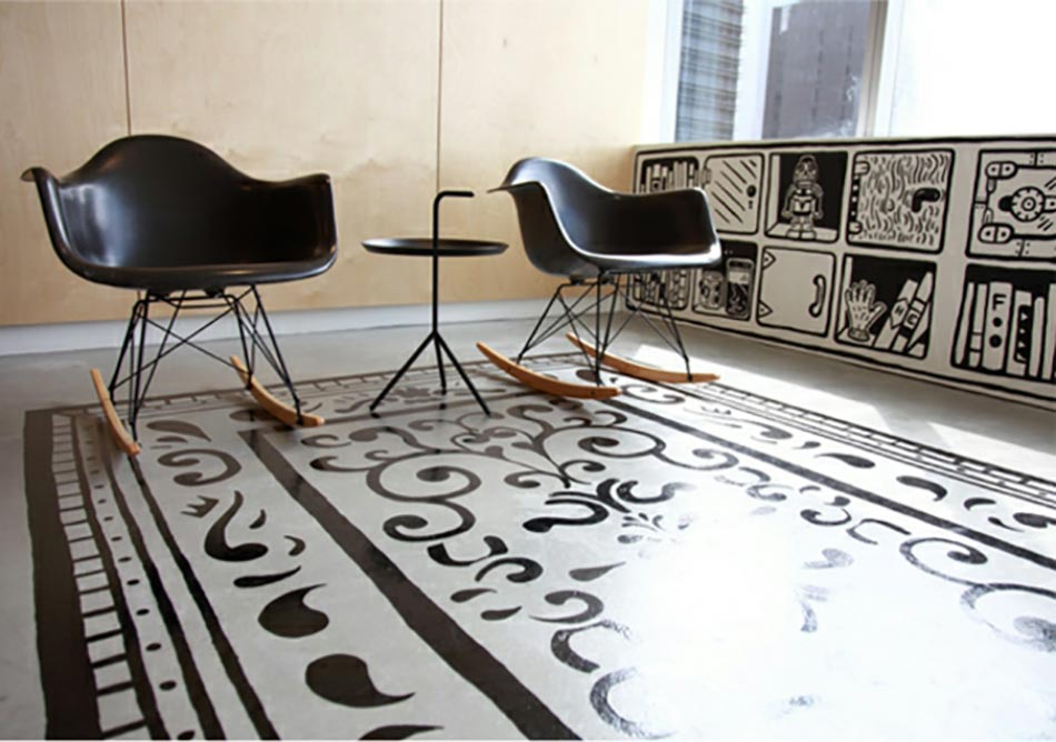 Un tapis salon peint qui n est pas comme les autres - Tapis de sol salon ...