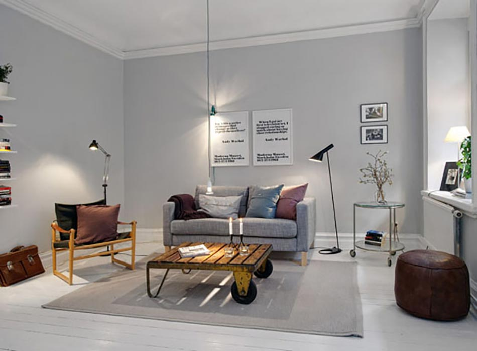 sjour scandinave en gris et au meuble design industriel - Salon Gris Scandinave