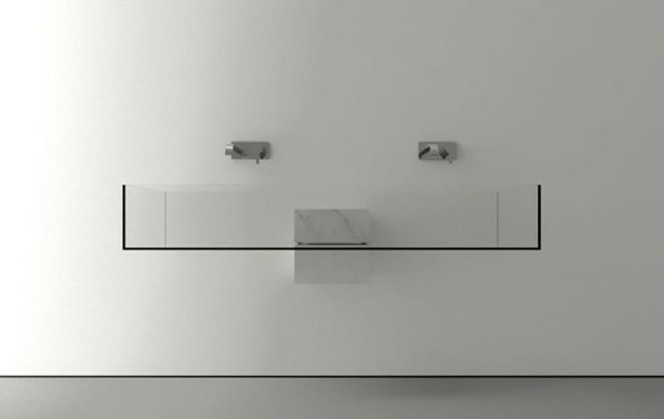 Ameublement Salle De Bain Vasque Transparent Double