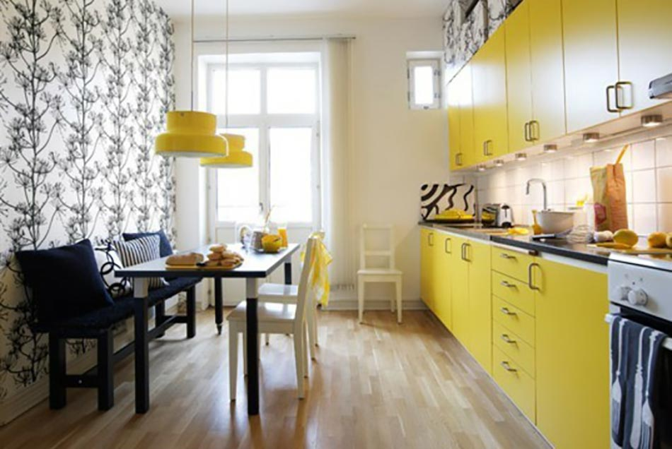 idee deco cuisine jaune. Black Bedroom Furniture Sets. Home Design Ideas