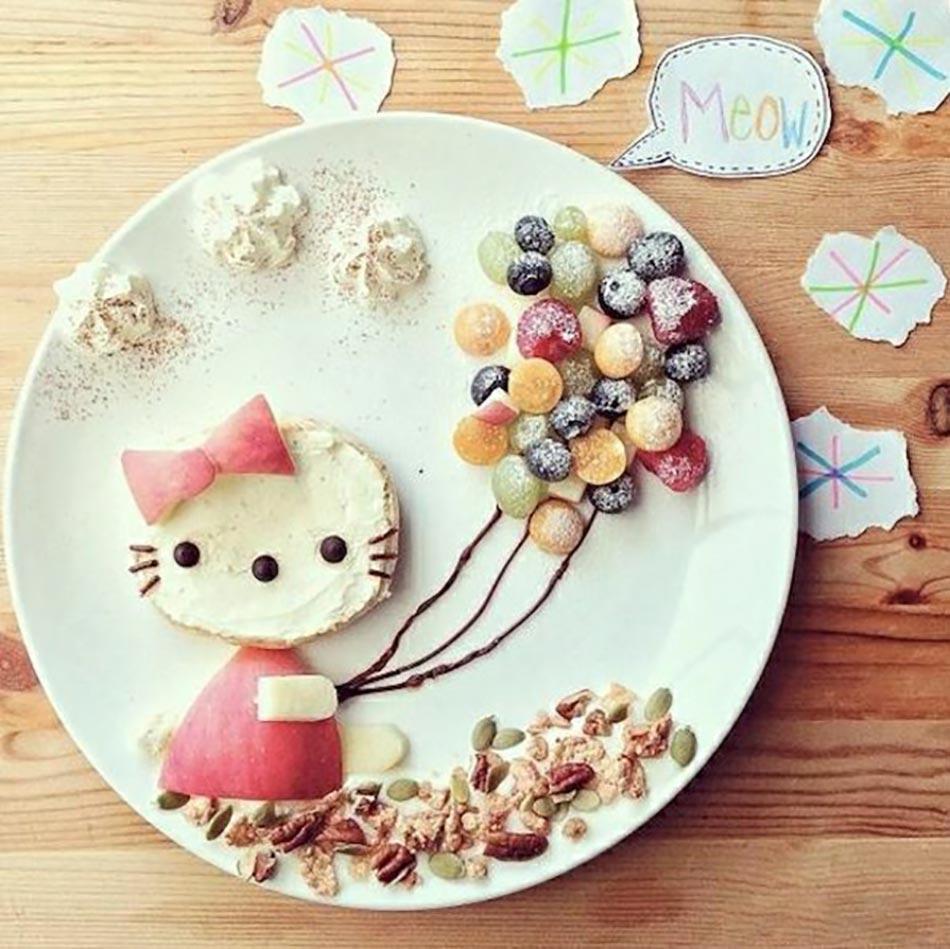 ... De Manger équilibré. Kitty Dans Lu0027assiette