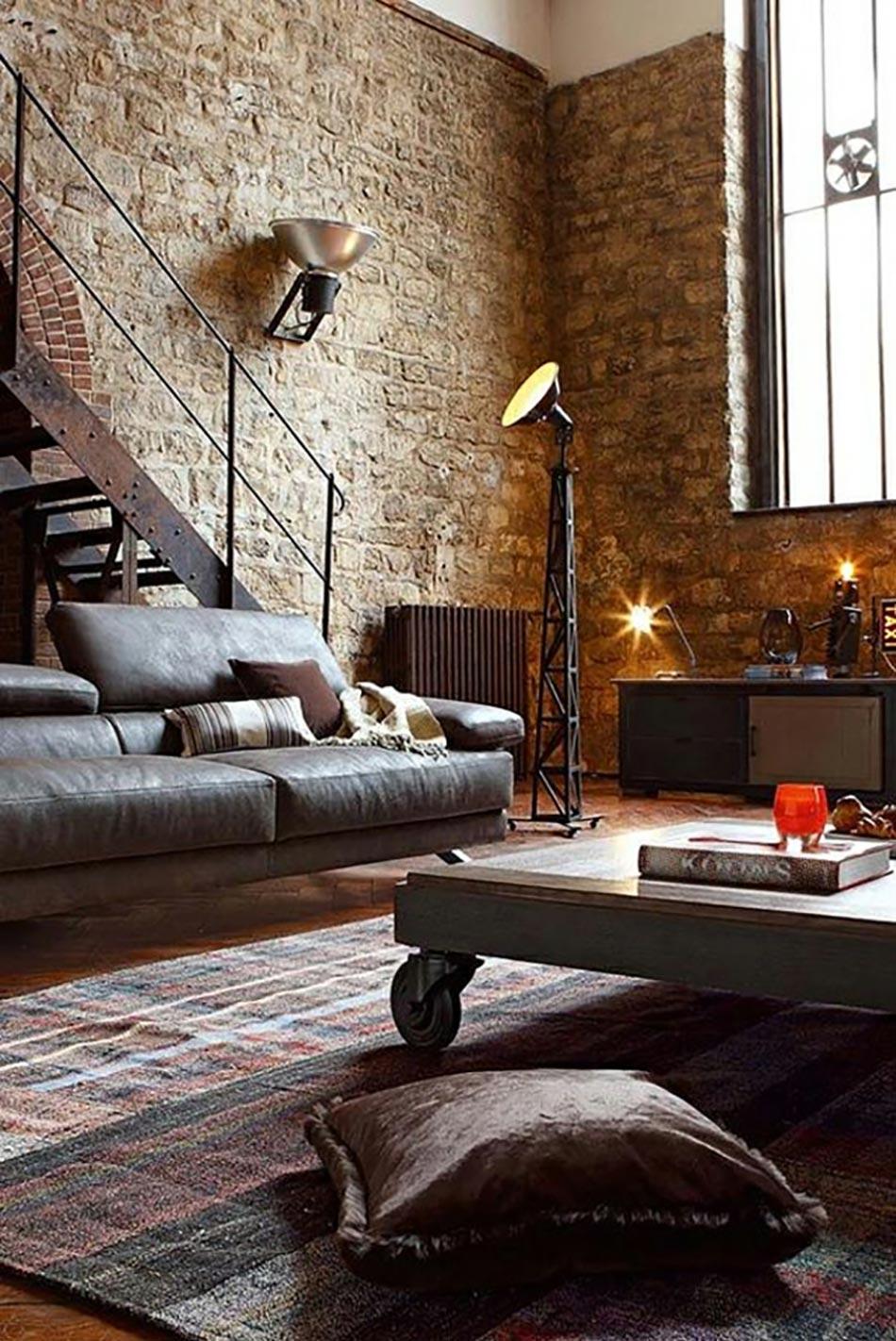 séjour style industriel brut