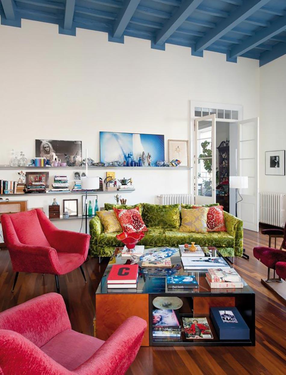 Bon Rouge Et Bleu Pétrole Salon Design