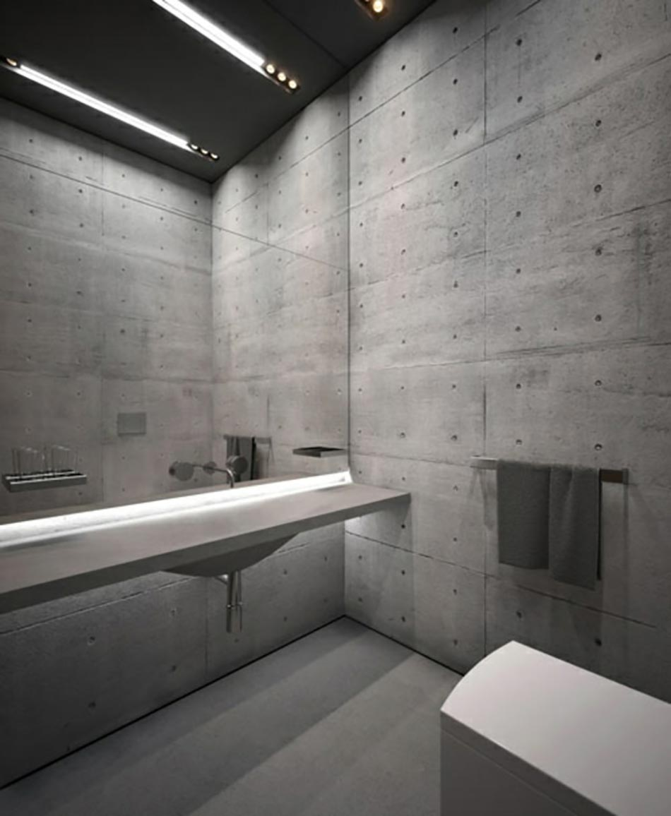 Decoration mur beton brut for Salle de bain style nordique