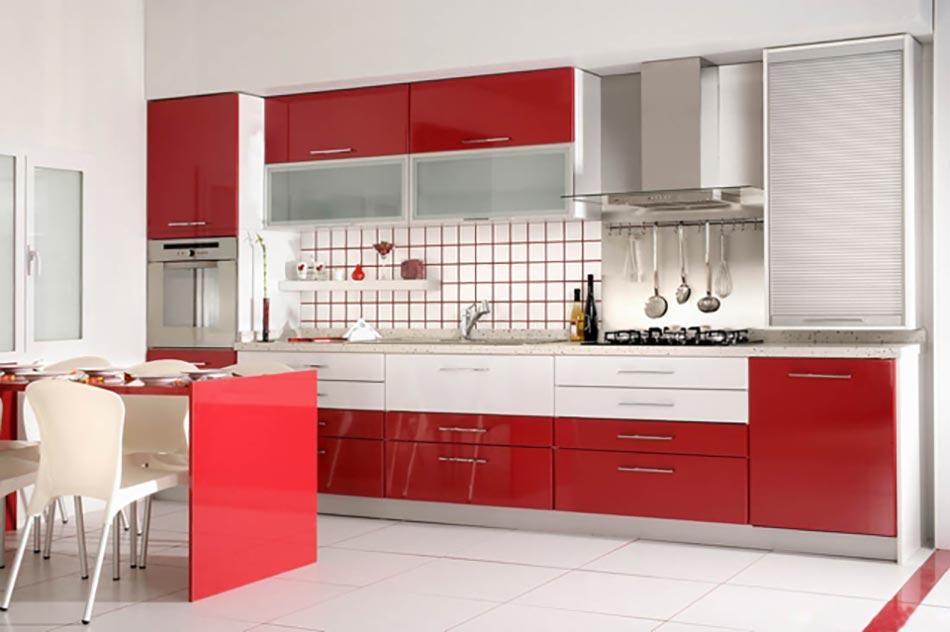 Id es d co pour une petite cuisine ouverte design feria for Petite cuisine rouge