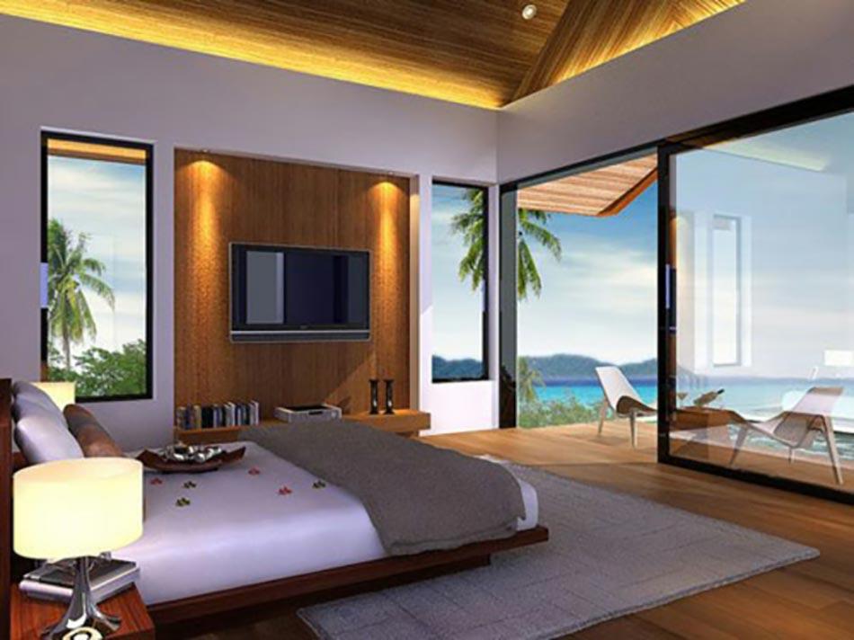 Beautiful Home Design With Modern Vintage Interior Ocean View Design Exotique Pour Cette Chambre A Coucher Qui Donne Directement Sur