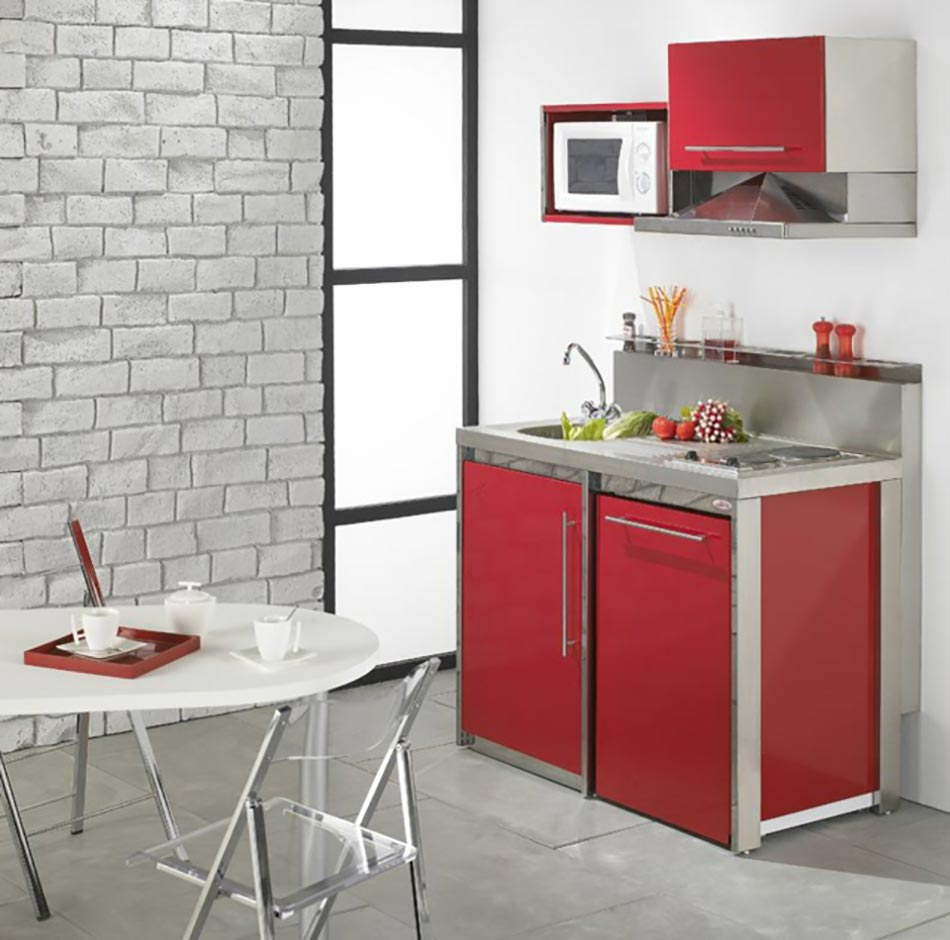 La kitchenette moderne quip e et sur optimis e for Table de cuisine pour studio