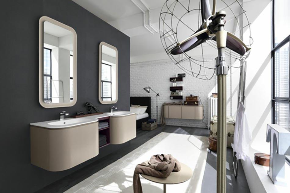 Salle De Bain Beige Et Turquoise : Formes cubiques et minimalistes pour cette salle de bain moderne