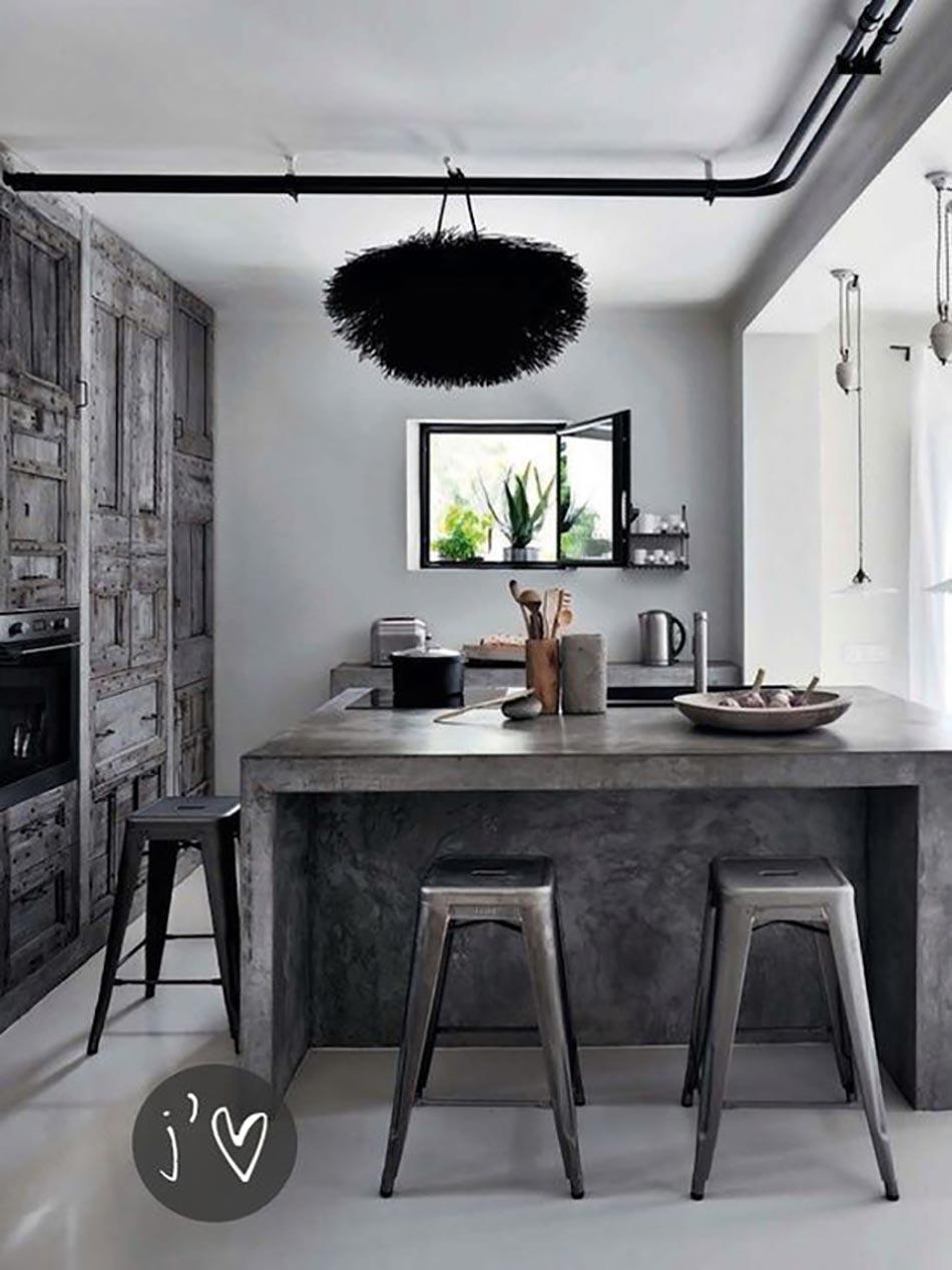 Ilot central en b ton ou l accent industriel dans notre for Ilot central cuisine gris