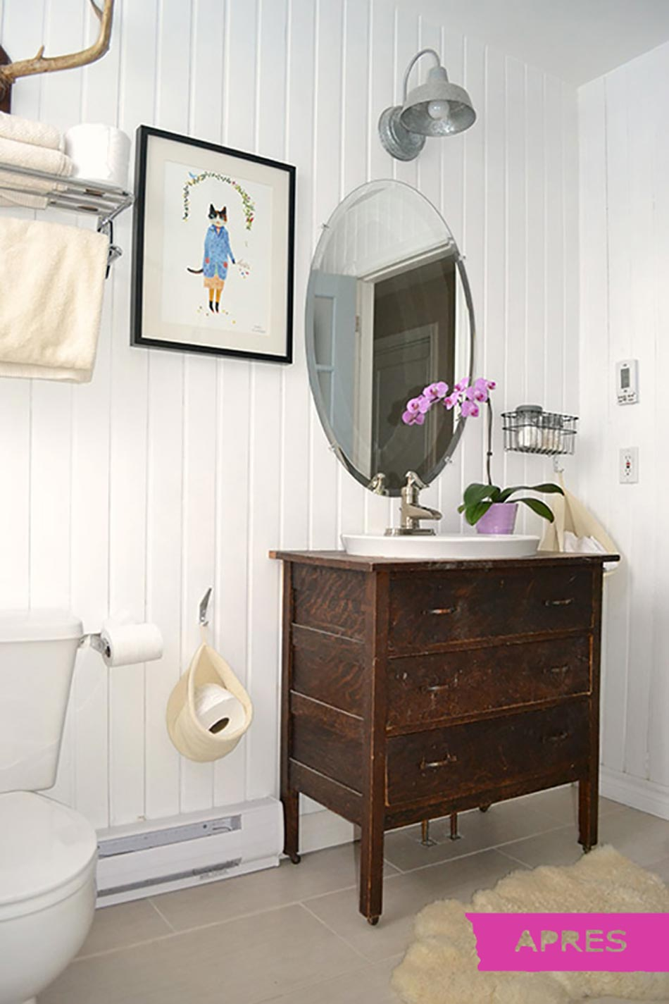 Petit meuble sous lavabo 5 9 apres renovation salle de for Petit lavabo salle de bain