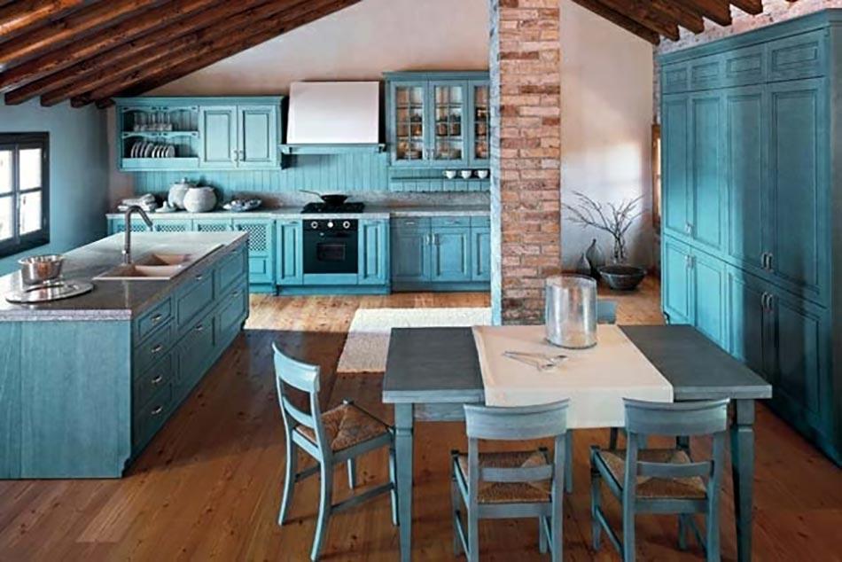 Une cuisine en bleu inspir e par la mer for Cuisine turquoise et gris