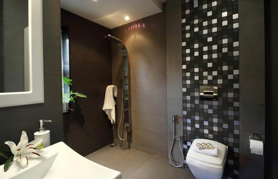 dcor sombre pour cette salle de bain moderne - Salle De Bain Douche Moderne
