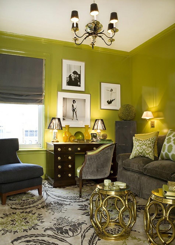 Salon vert anis et turquoise