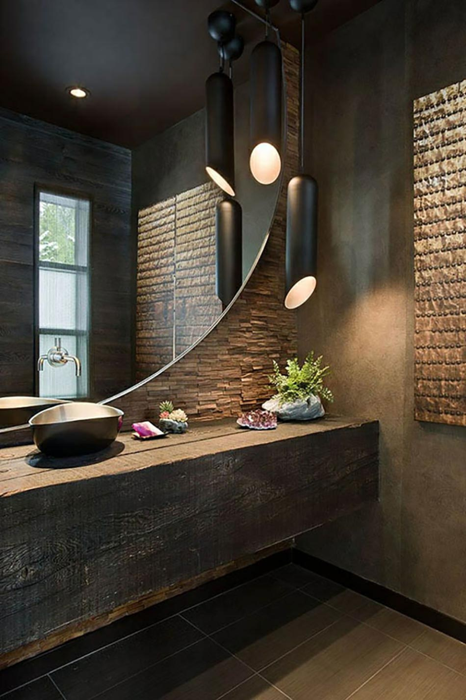 Des teintes sombres pour une salle de bain moderne - Accessoires de salle de bain design ...