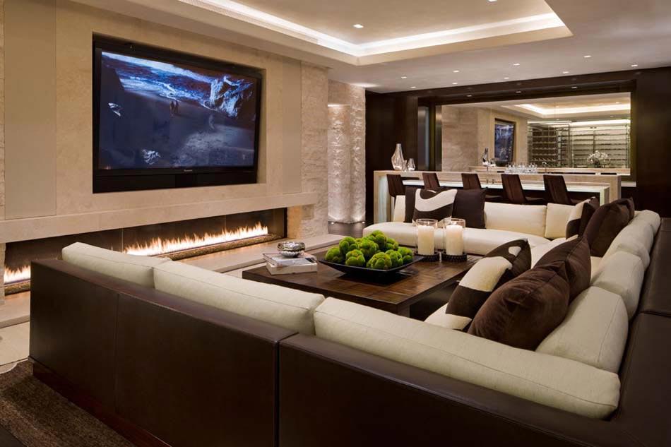 lumire tamise pour un salon idal de tl fixe au dessus de la chemine moderne - Salon Moderne Deluxe