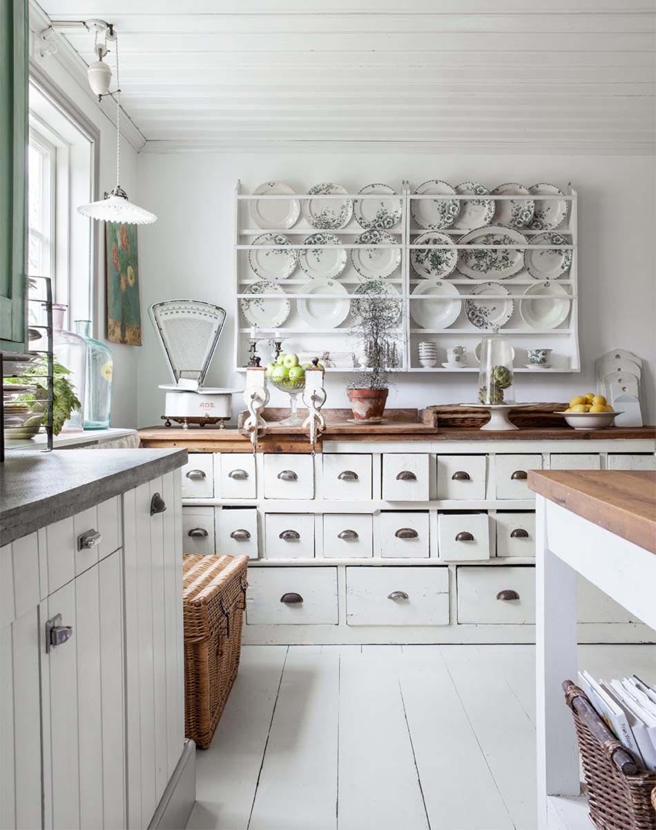 Cuisine retro grise: cuisine rétro moderne avec carrelage ancien ...