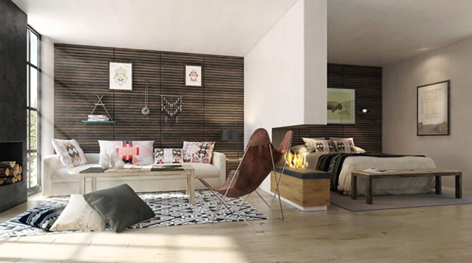pi ce de vie moderne dans un petit appartement de ville design feria. Black Bedroom Furniture Sets. Home Design Ideas