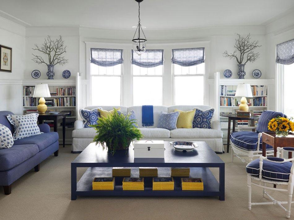 15 idées intéressantes pour décorer un salon dans les tons bleus ...