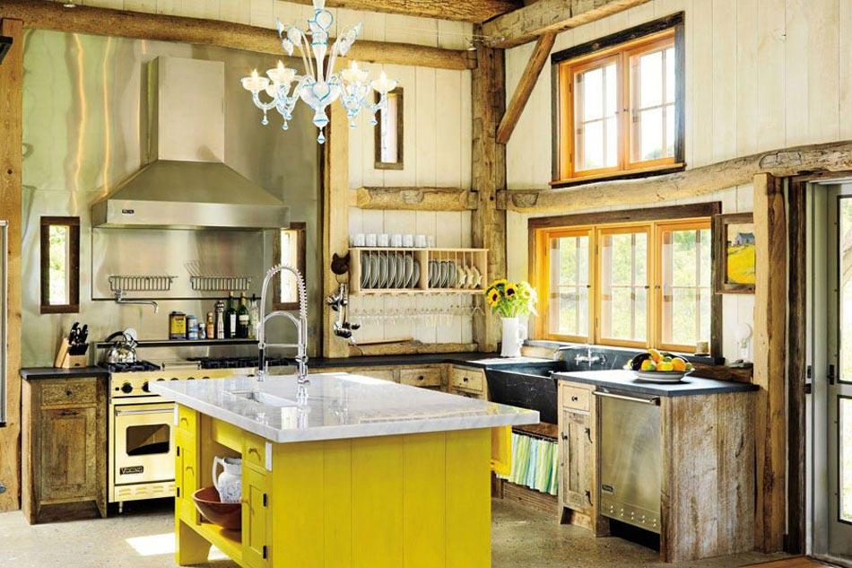 La cuisine rustique contemporaine au centre des r sidences de vacances desi - Jolie cuisine ouverte ...