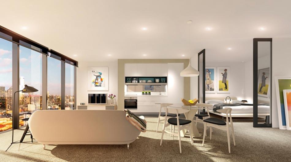 pi ce de vie moderne dans un petit appartement de ville design feria. Black Bedroom Furniture Sets. Home Design Ideas