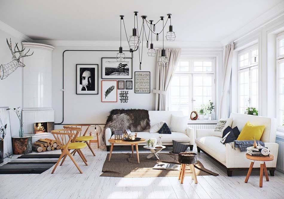 Une d co salon de toute fraicheur aux touches printani res en jaune design - Deco scandinave design ...