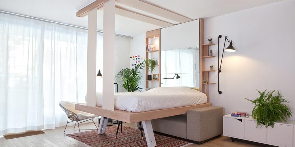 Une Fois Descendu, Ce Lit Escamotable Design Transforme Le Séjour En Une  Véritable Chambre. Lit Bedup Fabrication Française