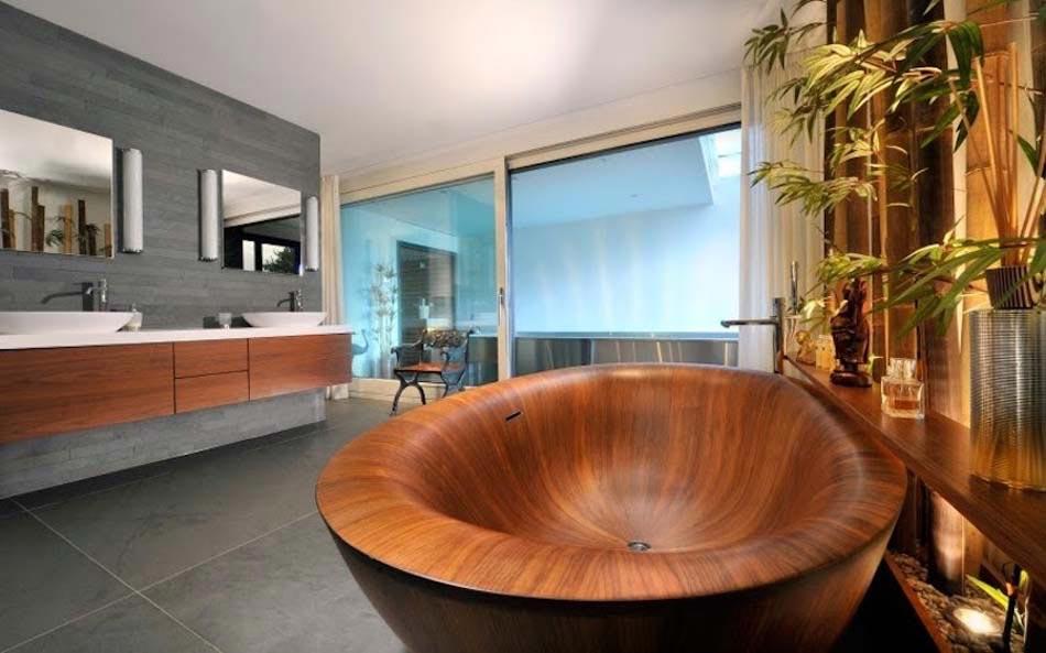 Baignoire design en bois ou les salles de bains aux for Bois exotique salle de bain