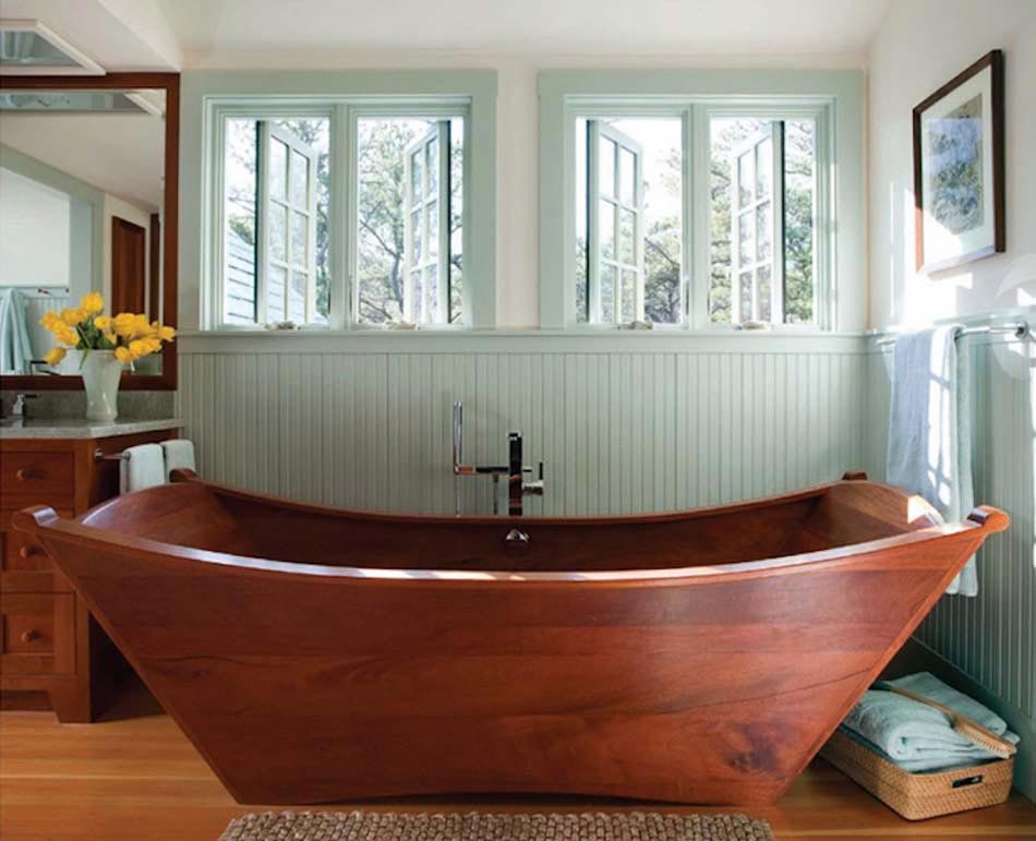 baignoire design en bois ou les salles de bains aux inspirations d ailleurs design feria. Black Bedroom Furniture Sets. Home Design Ideas