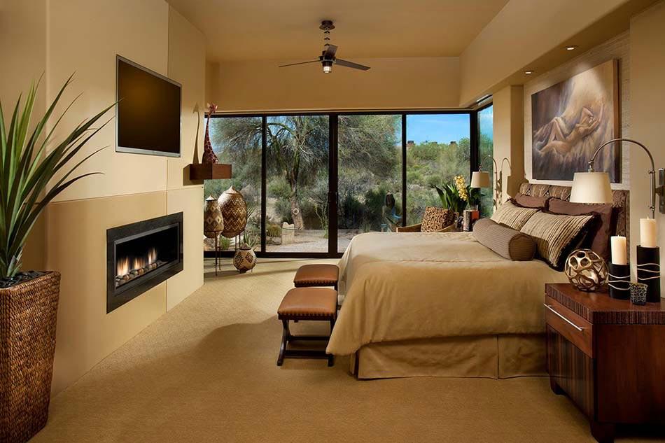 un design et dcoration clectique pour cette chambre la chemine moderne - Belle Chambre Moderne