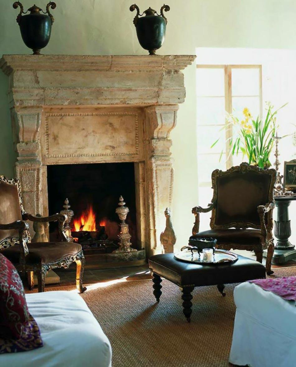 int rieur rustique la chemin e ancienne d poque design feria. Black Bedroom Furniture Sets. Home Design Ideas
