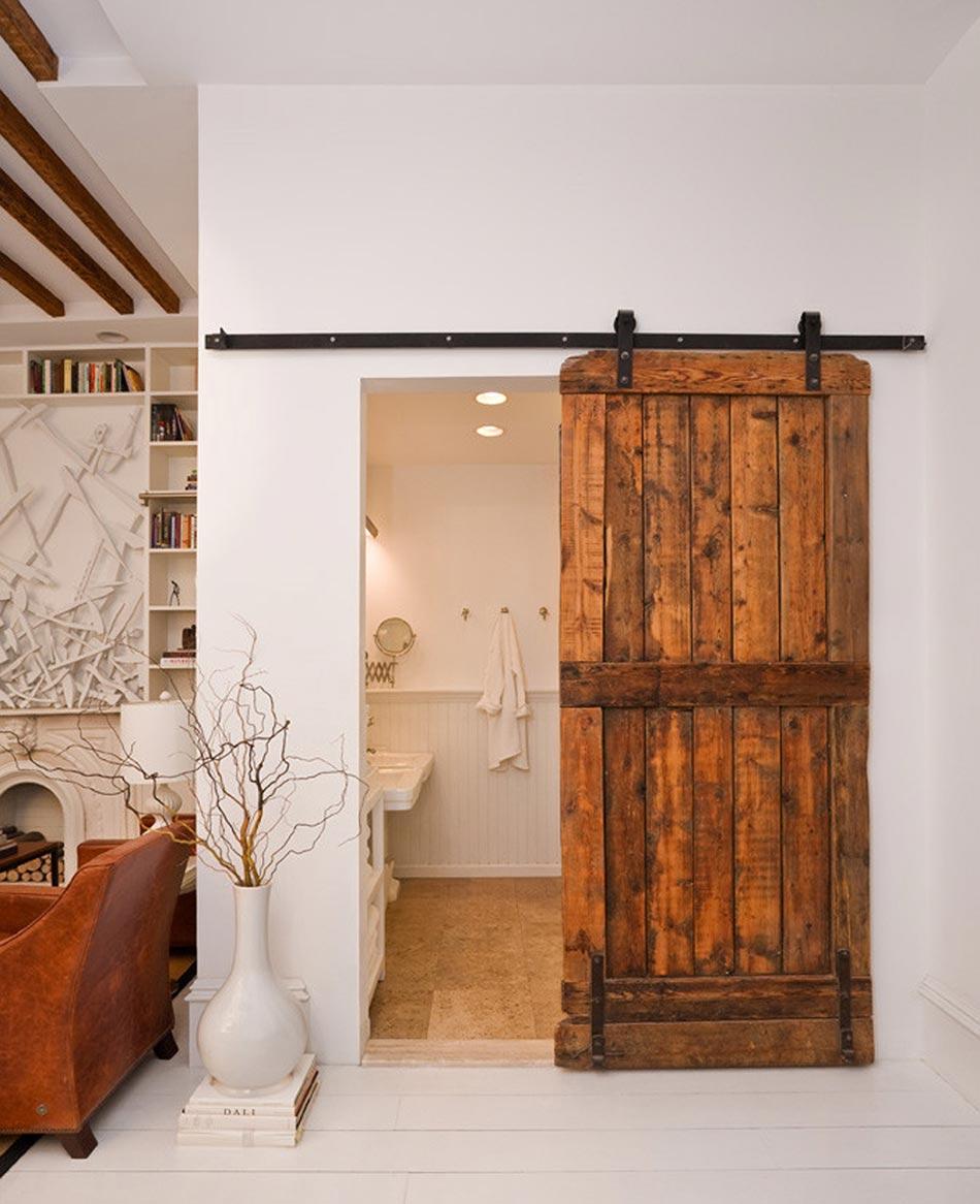 exceptionnel Superbe porte coulissante design en bois brut avec un seul ventail