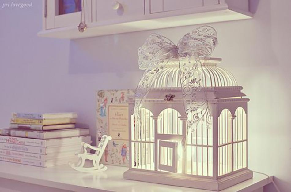 Elegant Cage à Oiseaux Blanc Accessoires Déco Intérieure