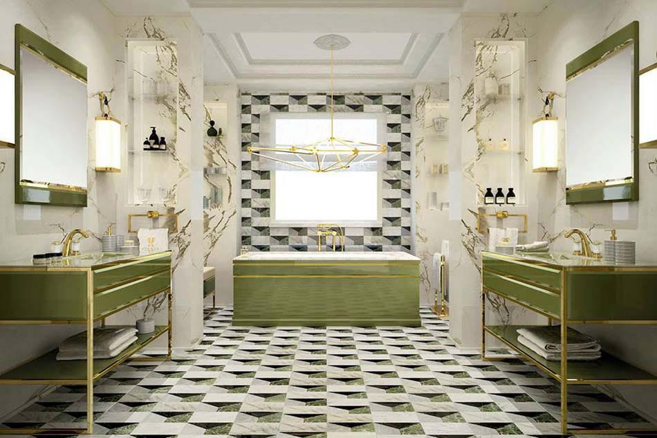Carrelage design l inspiration g om trique pour la salle for Salle de bain moderne photo