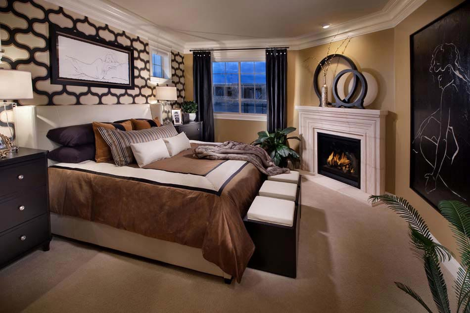 15 exemples d une belle chambre avec chemin e aux ambiances vari es design feria. Black Bedroom Furniture Sets. Home Design Ideas