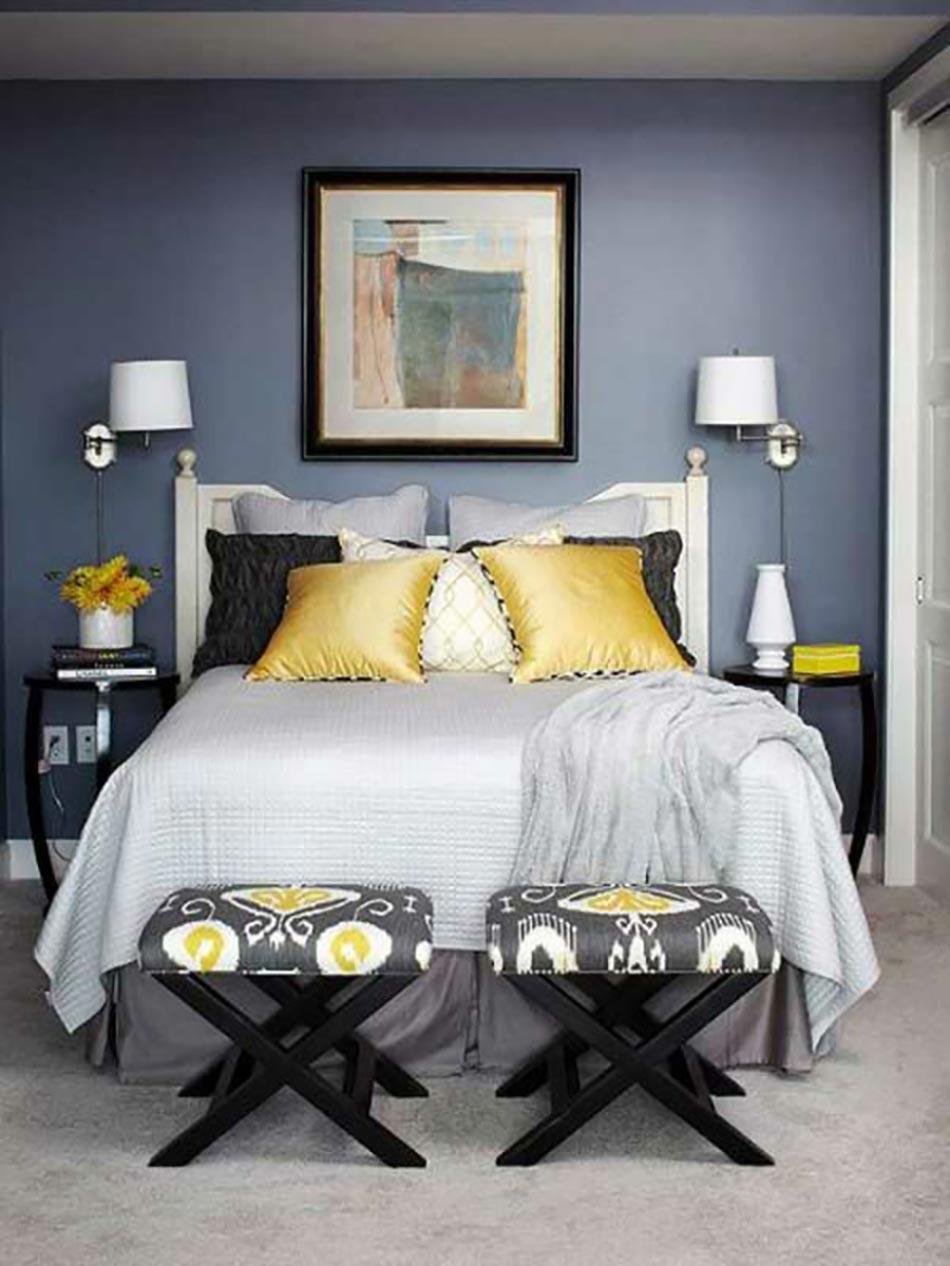 16 sources d inspiration design pour votre chambre coucher - Chambre jaune et bleu ...
