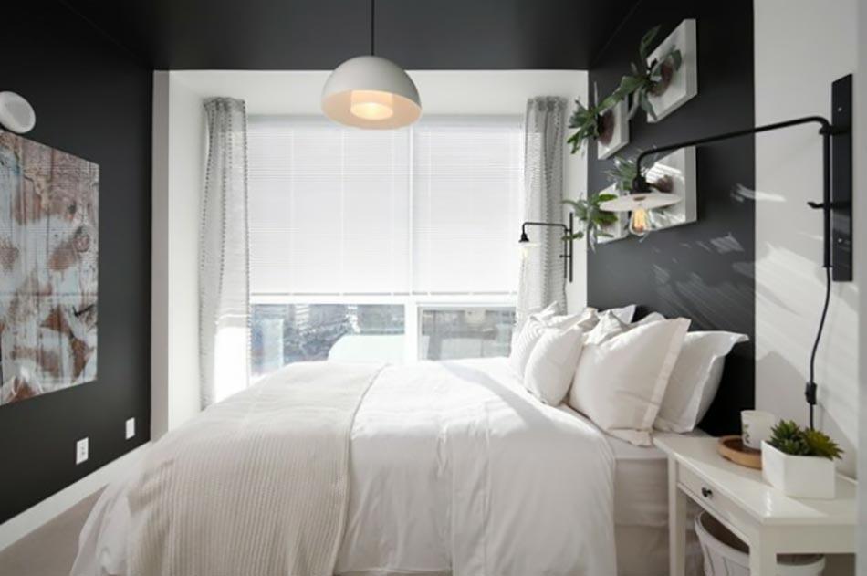 chambre coucher gris linge de lit blanc
