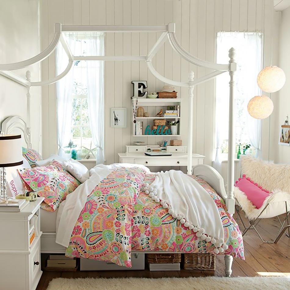 Agreable Chambre Déco En Blanc Et Accessoires Pétillants. Chambre Cosy Douillet Touche  Féminine Décoration Design